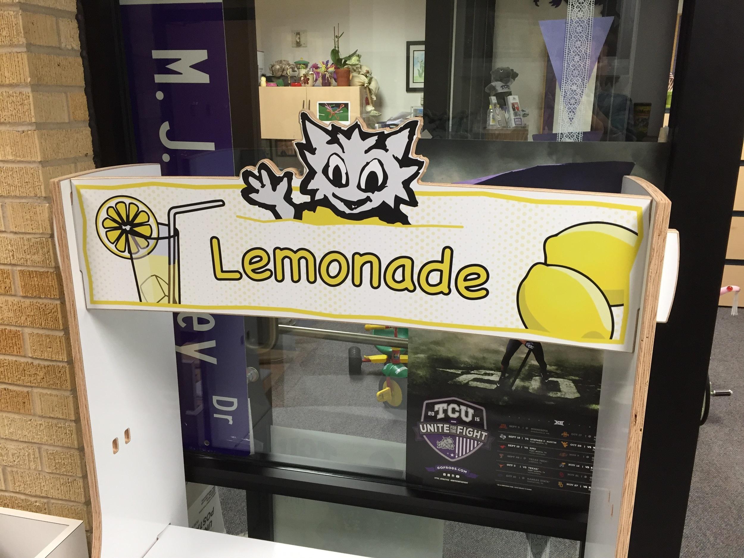 Banner panel with custom lemonade graphic