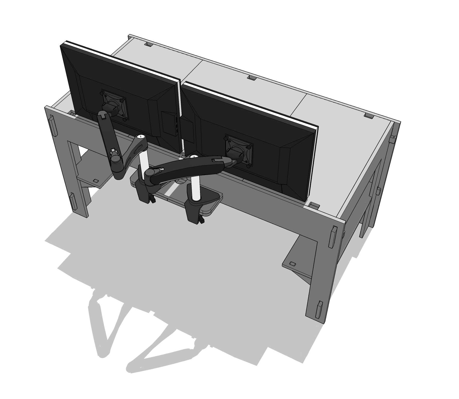 Design sketch showing the attachment of two articulated monitor arms