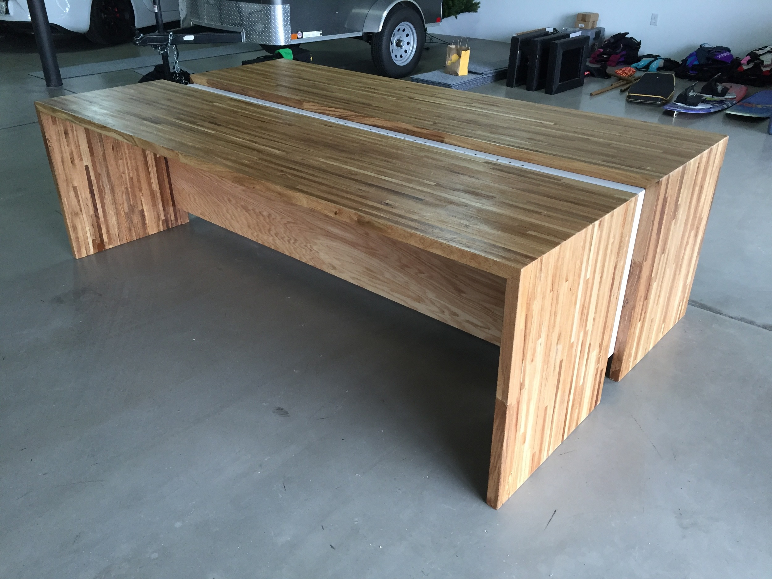 This was desk 1 of 5, made with a different supplier of oak butcher block. This one featured traditional joinery with a dadoed back panel and glued miter joints with blind splines for strength.