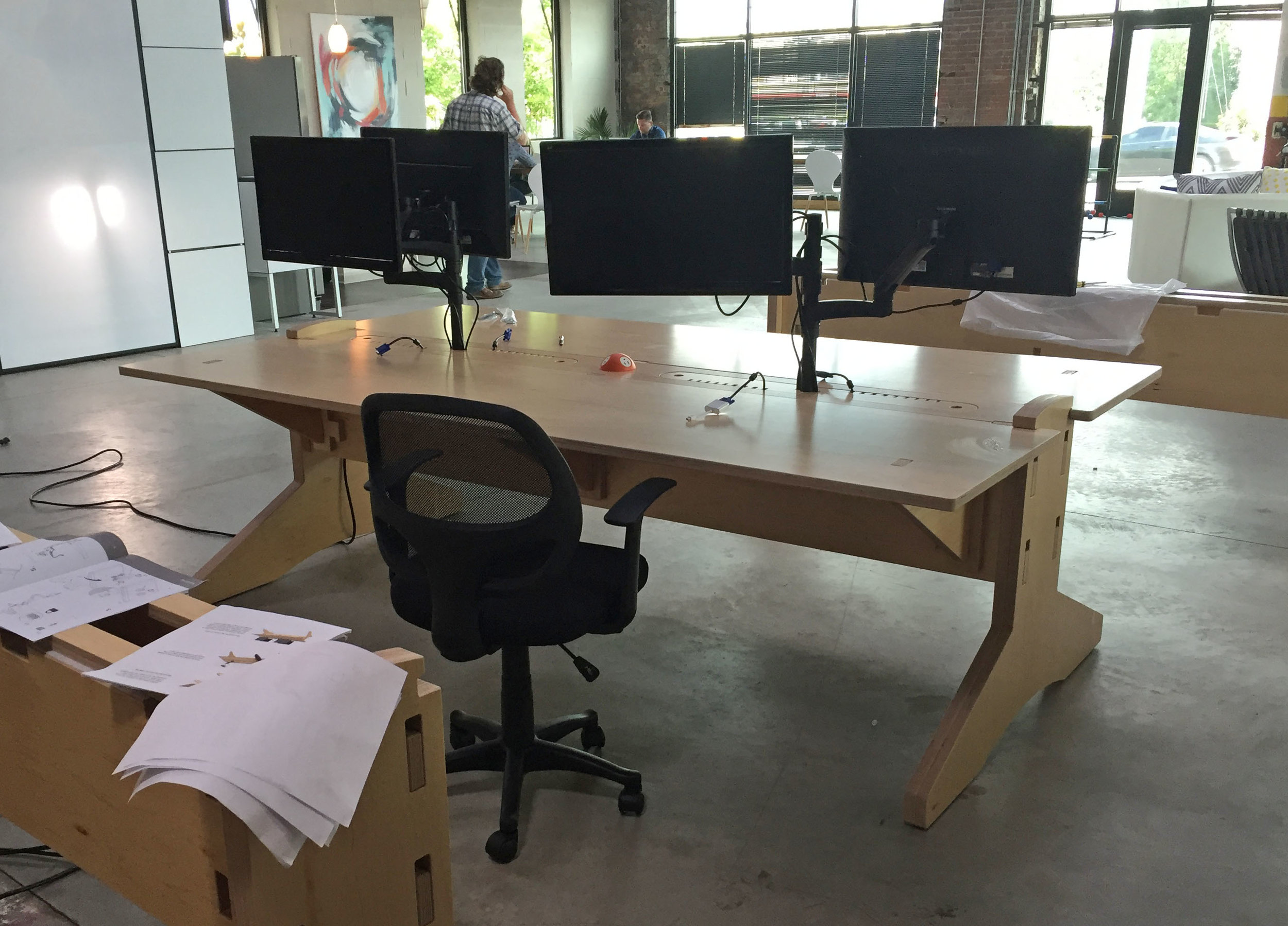 The first assembled table at the client's offices