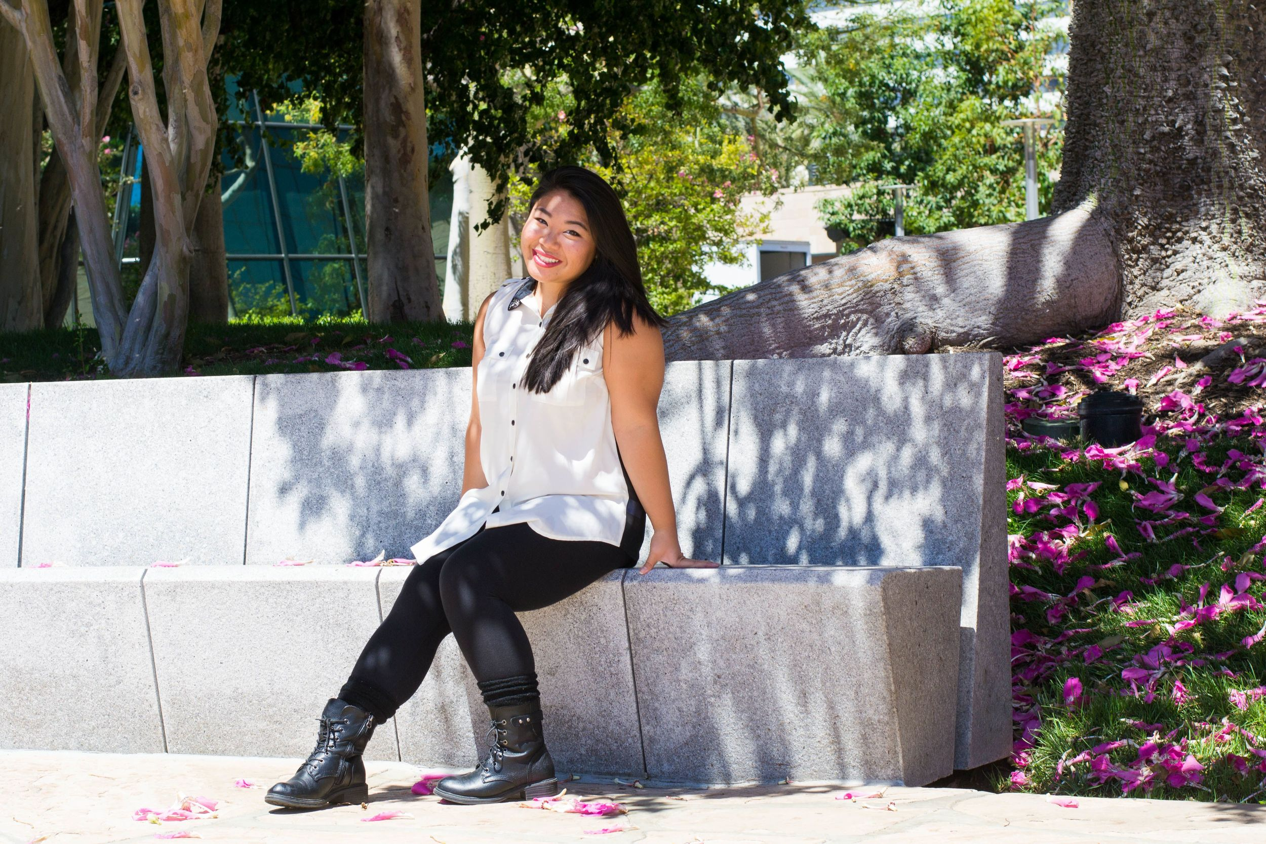 """Name: Kelli Yamaguma   Position: Public Relations   Year: Second Year   Major: Psychology   Hometown: Los Altos, CA   Favorite Quote: """"Everyone has a story.""""   Favorite Food: Japanese"""