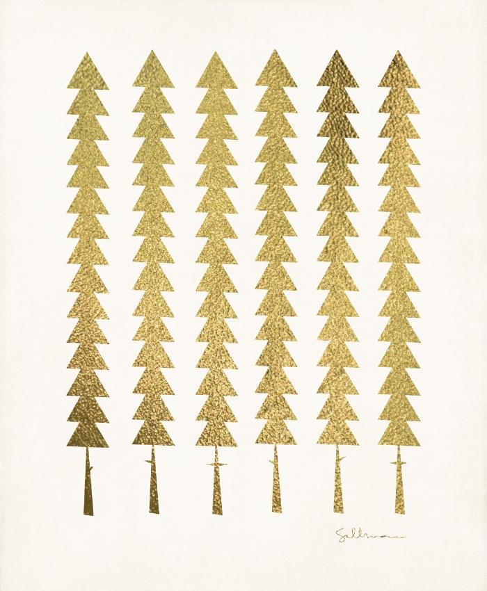 Gold Fancy Trees Illustration
