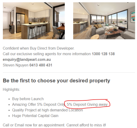 - A property developer offers to pay 5% of your deposit