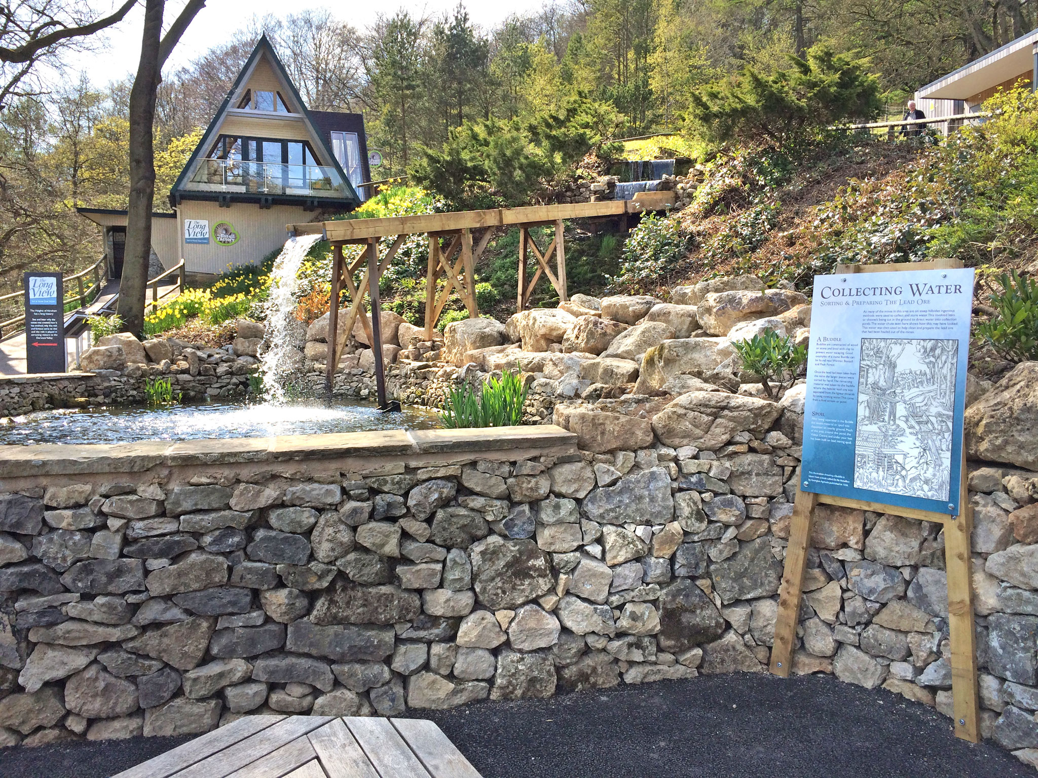 The new pond and lead mining water chute feature within The Heights of Abraham estate.