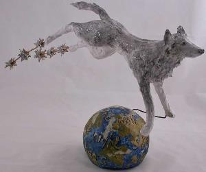 Wolf leapt across the night sky lighting up the stars