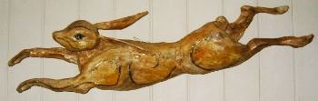 Golden Hare Wall Hanging                    length 115 cms   height 30 cms