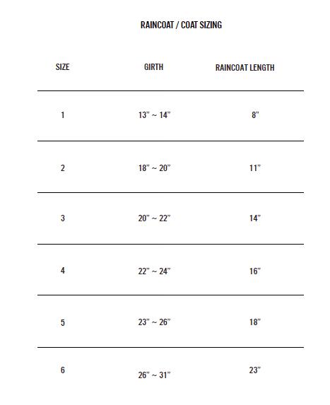 Raincoat Coat Size Chart Ware Of The Dog Luxury Dog Clothing Accessories
