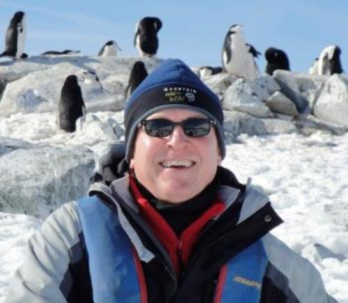 Steve and friends at Hydrurga Rocks, Gerlache Strait, the Antarctic Peninsula