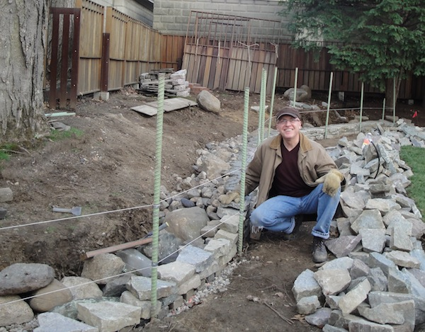 Getting started on the terrace wall project at our current home in Providence, 2011