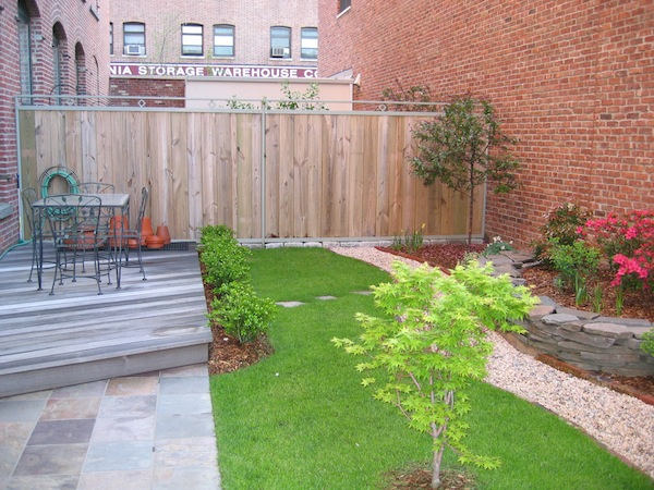 Small, free-form terrace wall behind our Park Slope, Brooklyn town house, 2003