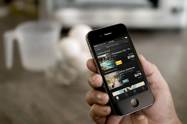 HotelTonight booking app on an iPhone Photo: Skift / Placeit by Breezi