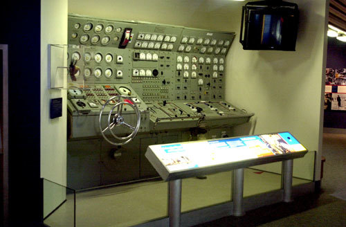 Full-size display of US nuclear sub systems control station at the Smithsonian Institute, circa 2000.