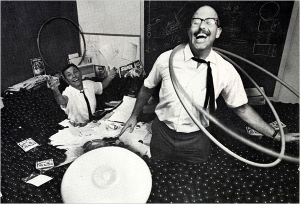 "Master Marketer Richard Knerr, right, and ""Spud"" Melin in 1965, at the height of the Frisbee and Hula Hoop craze. Knerr never claimed to have invented these toys. Instead, he was often heard to say he was the ""originator"" of the two novelties. Wham-O actively solicited or crowd-sourced new ideas from the public. Photo courtesy  New York Times."