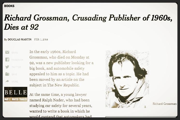 Richard Grossman obituary,  New York Times , February 1, 2014