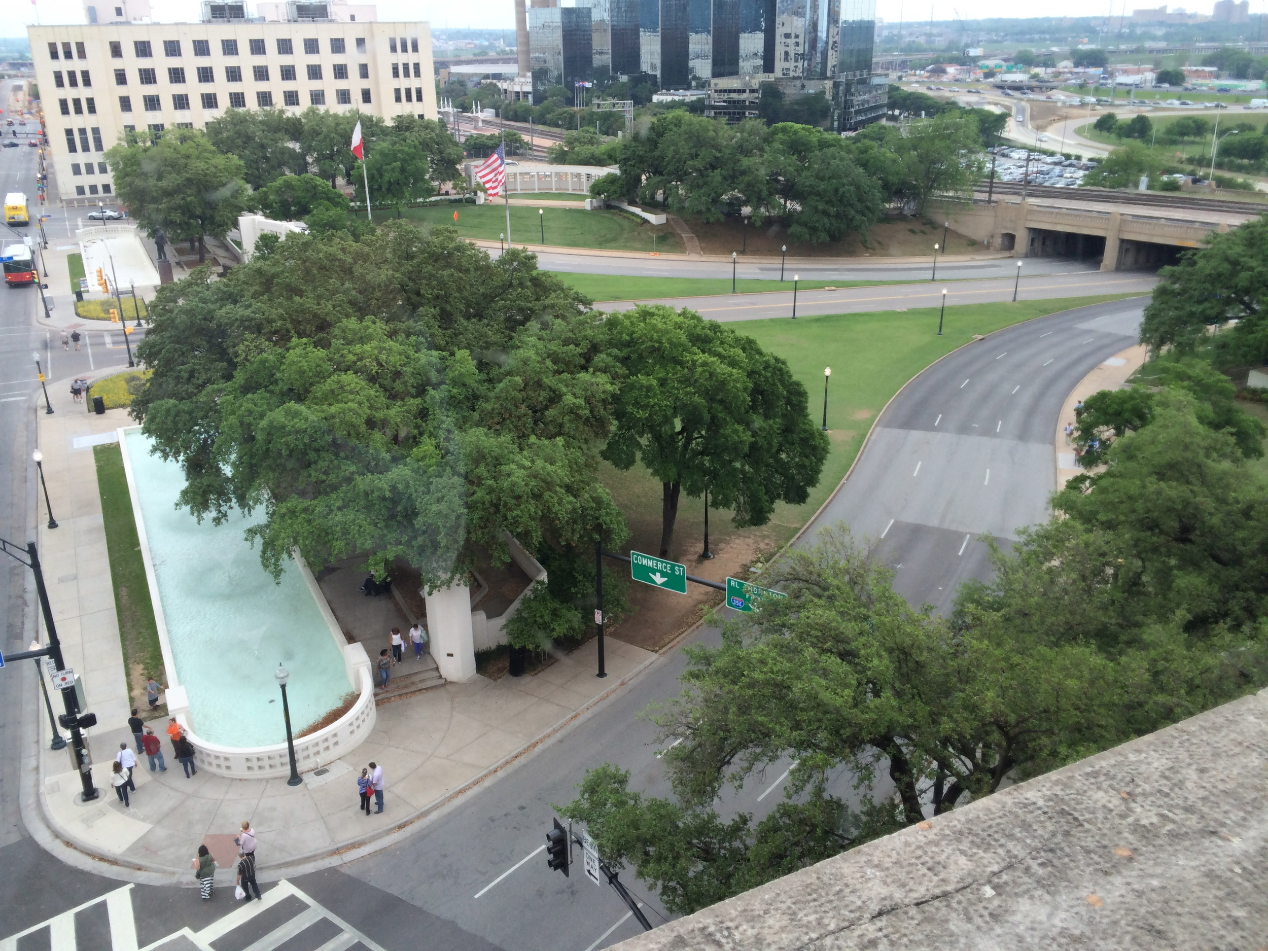 A photo from the corner window, seventh floor, of the Book Depository Building (no picture taking on the sixth floor). Everything was closer, more intimate than I had imagined.