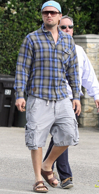 Leo wearing a pair of classic Birkenstocks.