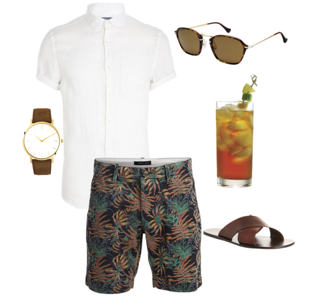 Basic watch with matching brown sandals, Persol sunglasses, white linen button-up tee, floral shorts and a Pimm's Cup!