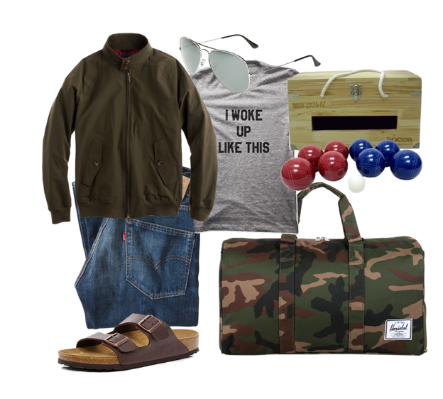 Bocce Ball, Levi's jeans, Birkenstock sandals and a waterproof jacket are camping musts!