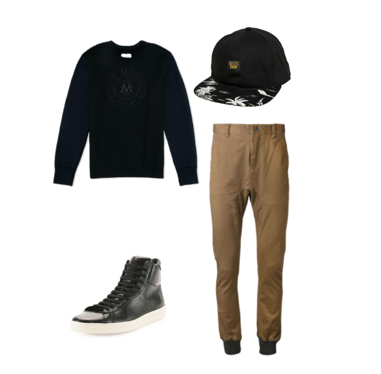 Reigning Champ x Club Monaco sweater, Tom Ford leather sneakers, 10-Deep snapback and Zanerobe pants.