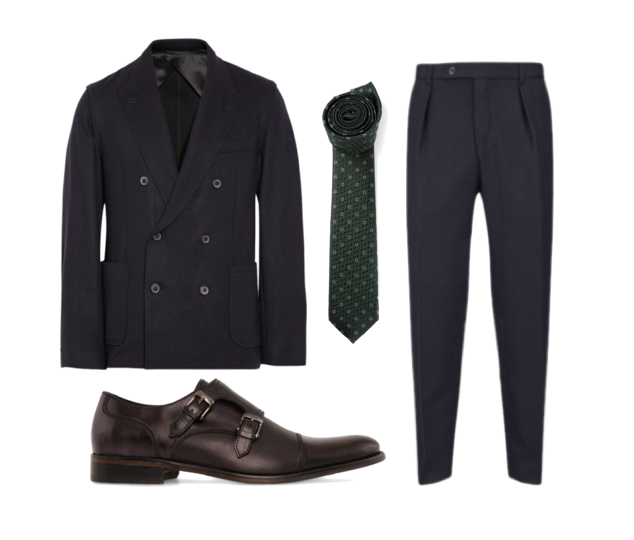 Lanvin: unstructured double-breasted jacket, John Varvatos: monk-strap shoes, E Zegna: tie and Carven wool trousers.