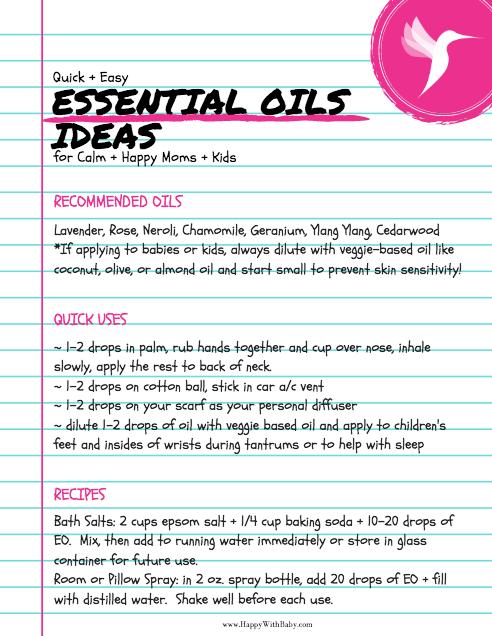 Essential Oils Ideas for Calm + Happy Moms + Kids