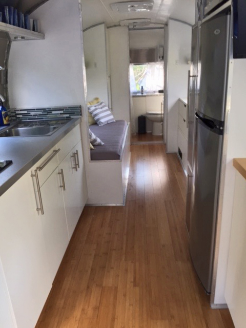Interior from kitchen to back of trailer