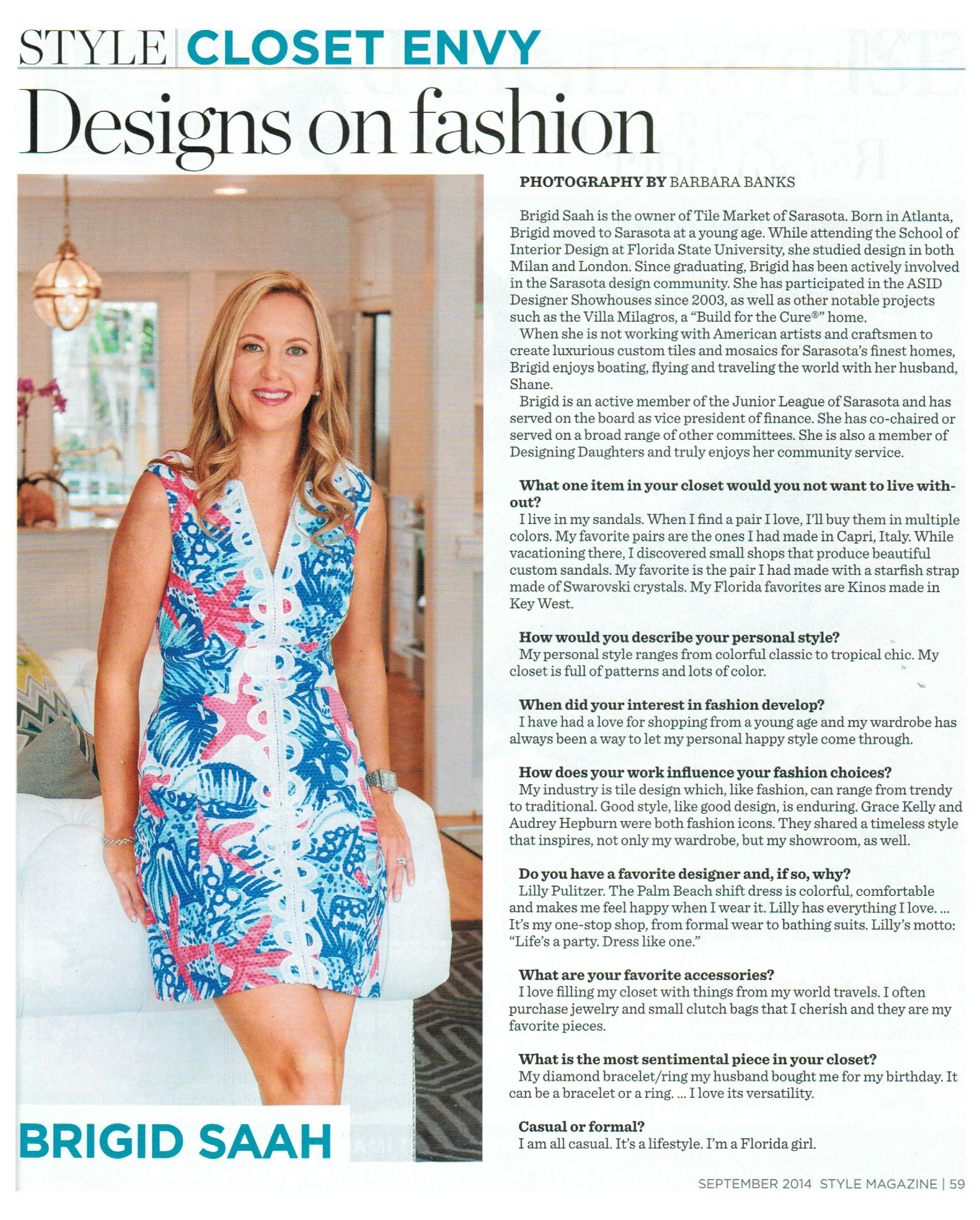 "Tile Market of Sarasota owner Brigid Saah is featured in Style Magazine ""Closet Envy"""