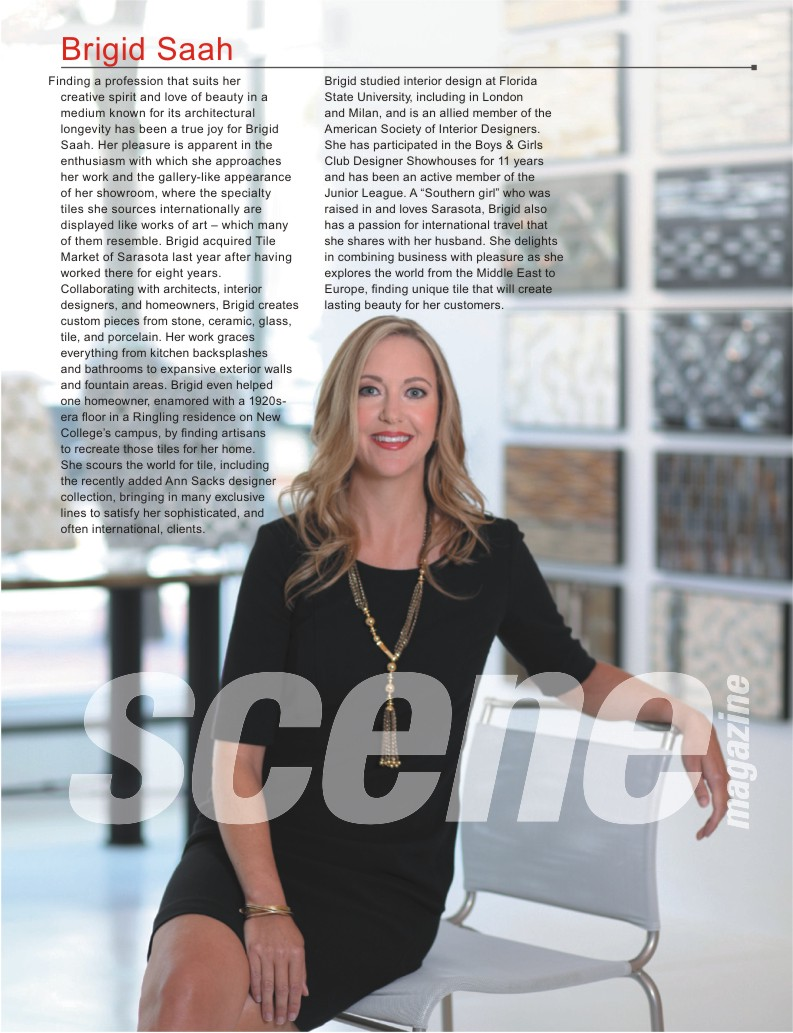 Brigid Saah, Owner of Tile Market of Sarasota featured in Women on the Scene Issue.
