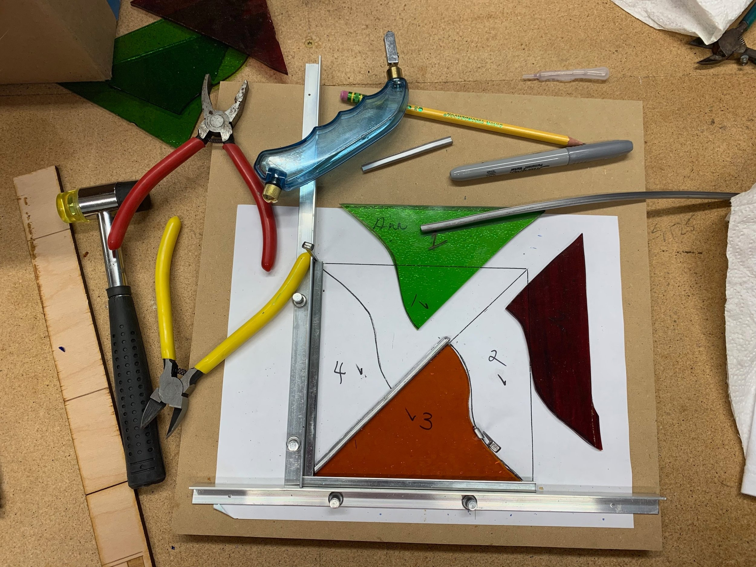 Stained Glass Space - Newest addition to the Makerspace. Come and learn the skills to do stained glass in our classes, or utilize the space as a Member to make make your own creations.
