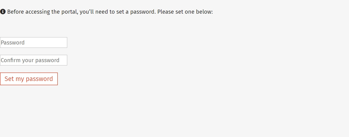 After accepting the portal invitation you'll be led to a page to create a password. Please create a password you'll remember (though you can reset it at any time from the login page).