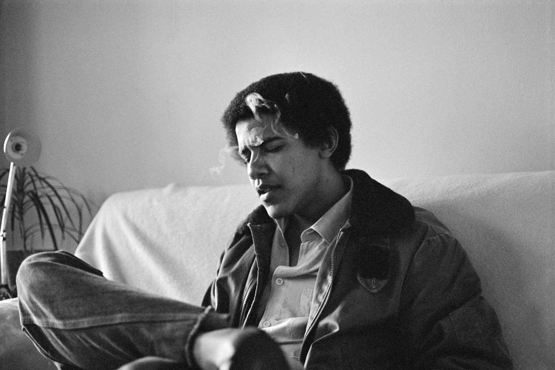 Obama as a young man... smoking.