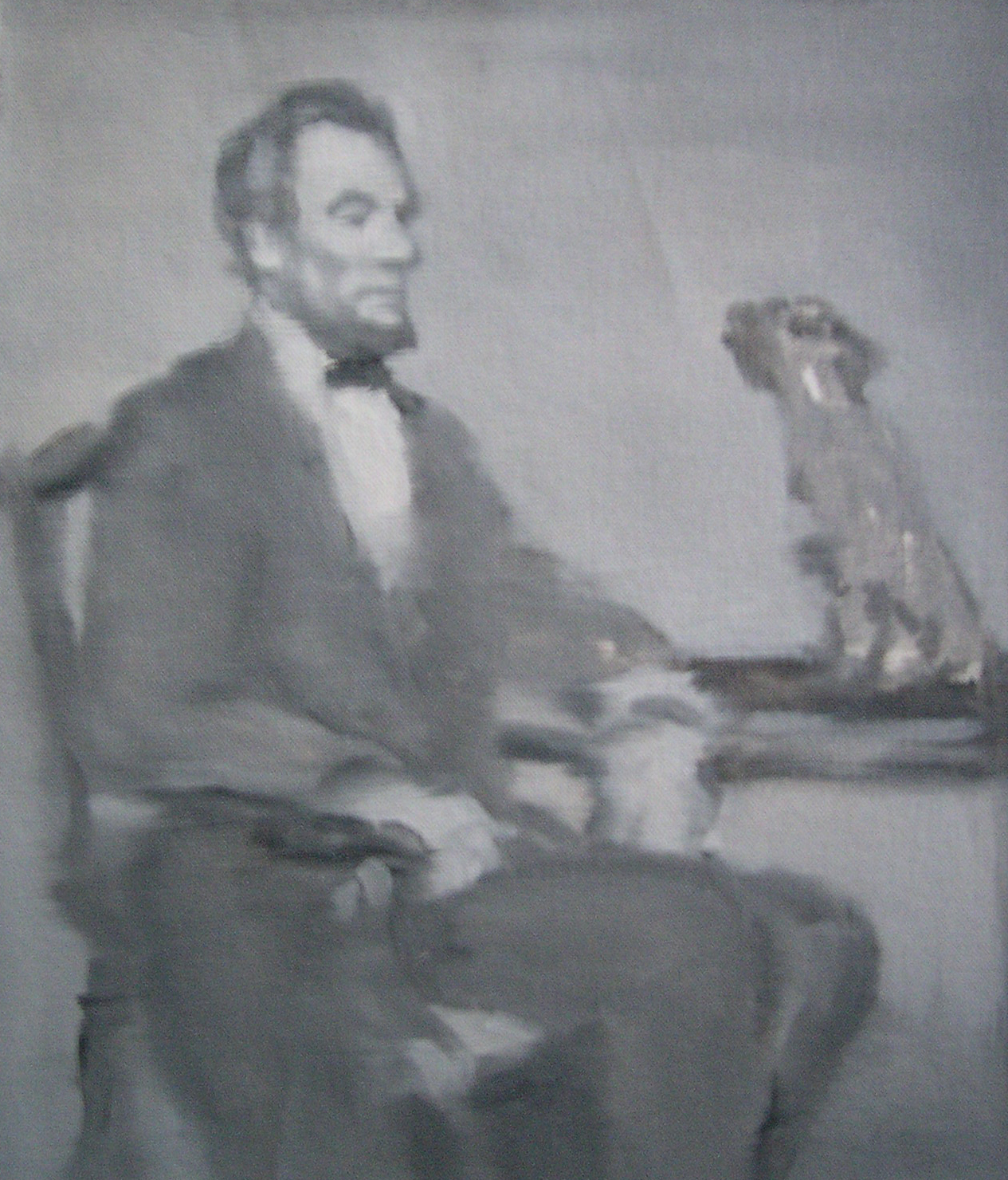 Abraham Lincoln Seeking Advice from a Small Talking Dog