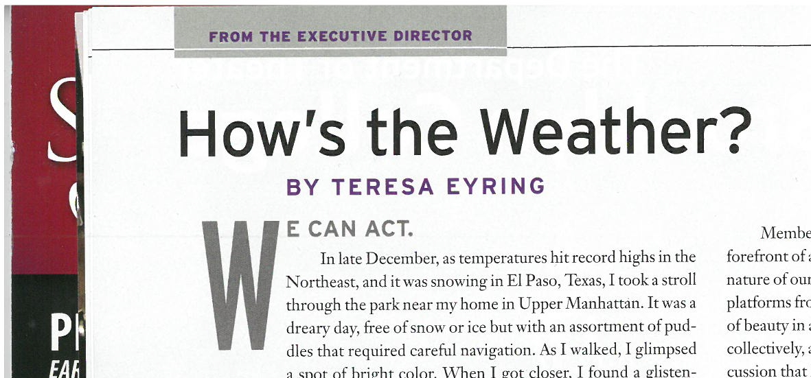 In the February issue of  American Theatre Magazine  Teresa Eyring praises the art and importance of  Extreme Whether  in its New York and Paris productions.