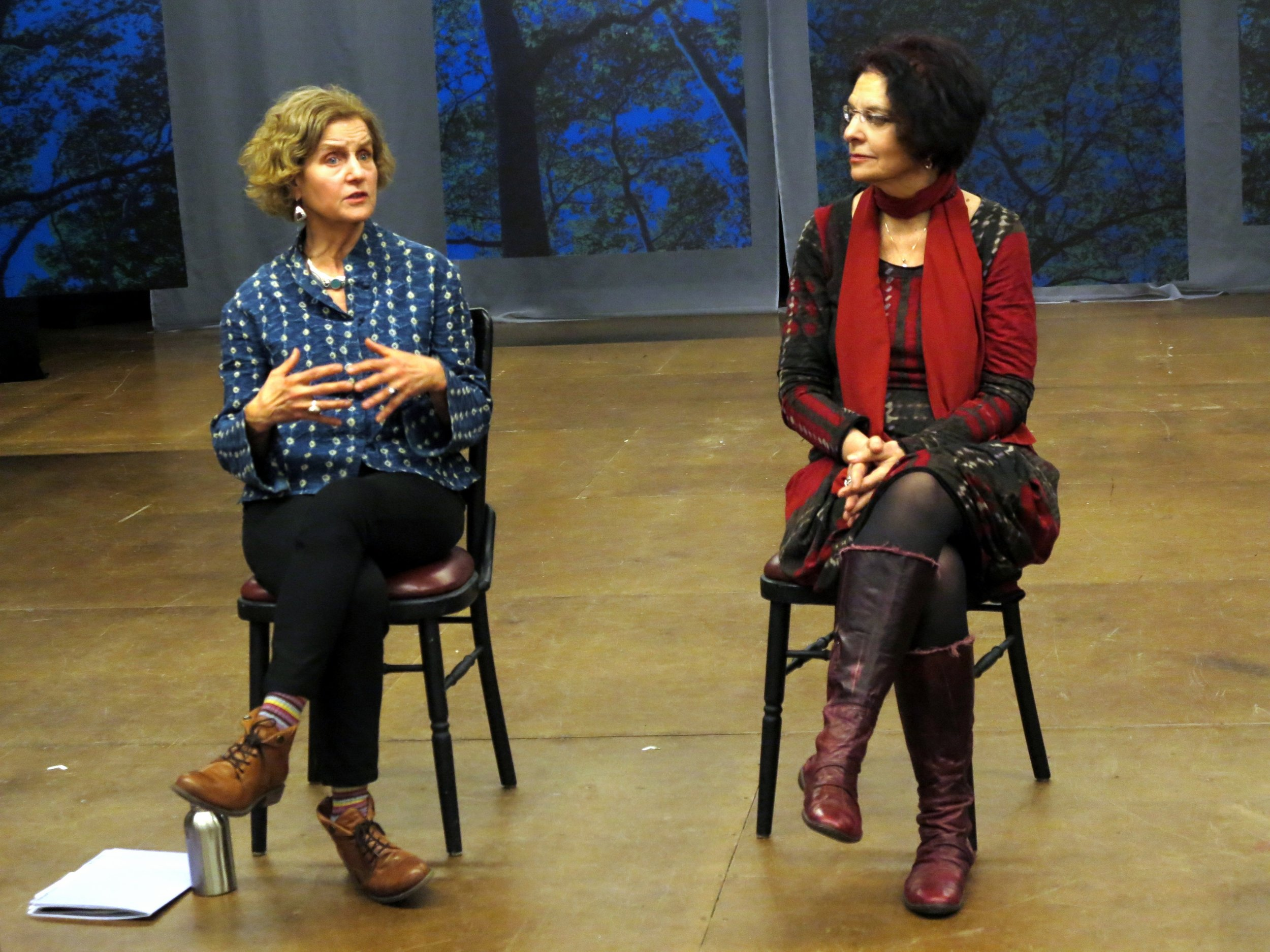 "Nancy Romer (L) and Karen Malpede (R) at talk-back following performance of ""Extreme Whether,"" written and directed by Karen Malpede, presented by La MaMa E.T.C., 66 E. 4th Street, Manhattan, March 3, 2018. Photo by Jonathan Slaff."