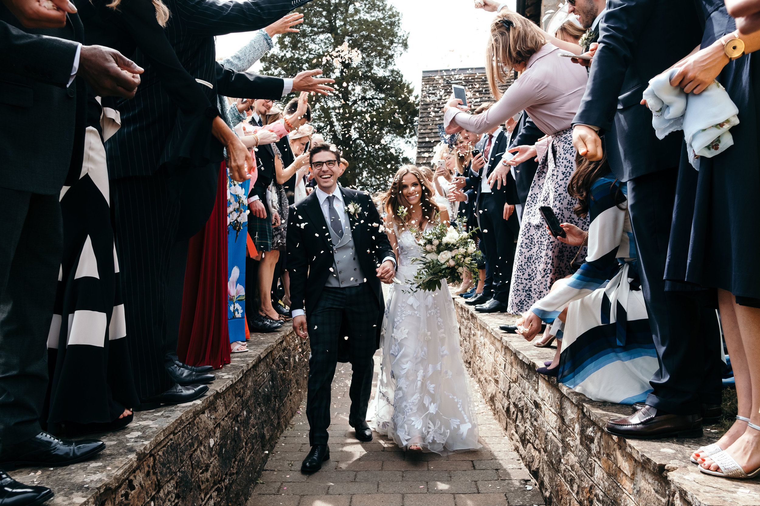 Bride and groom 2020 confetti throwing documentary wedding in UK
