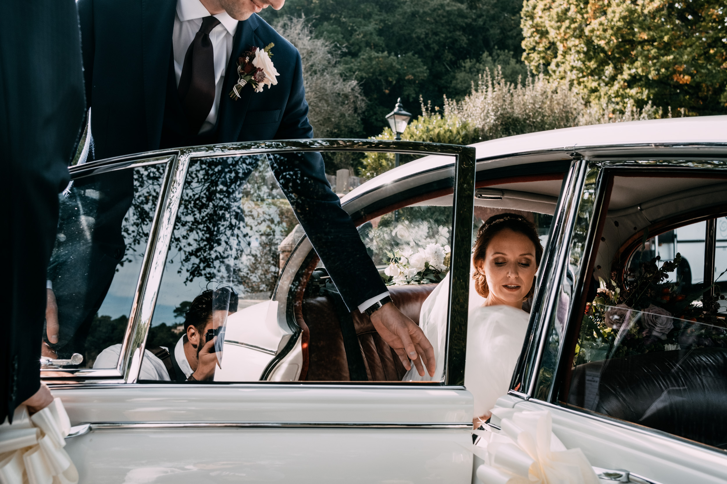 Documentary wedding photography of a bride and groom after their ceremony