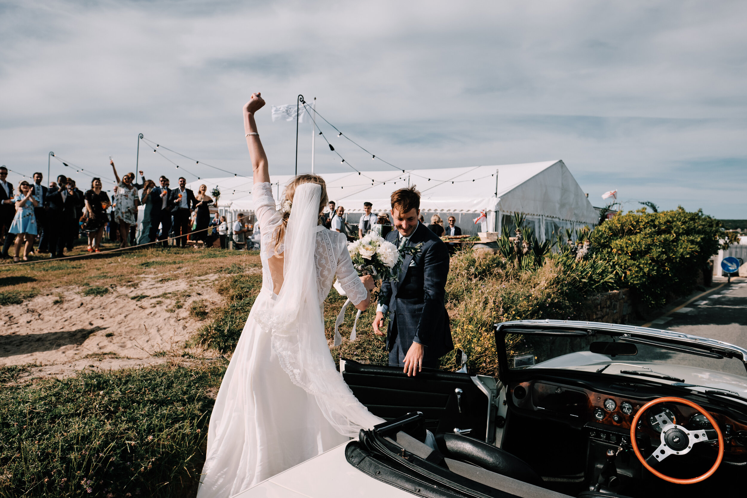 Bride Arriving at Reception Vintage Car Documentary Wedding photography