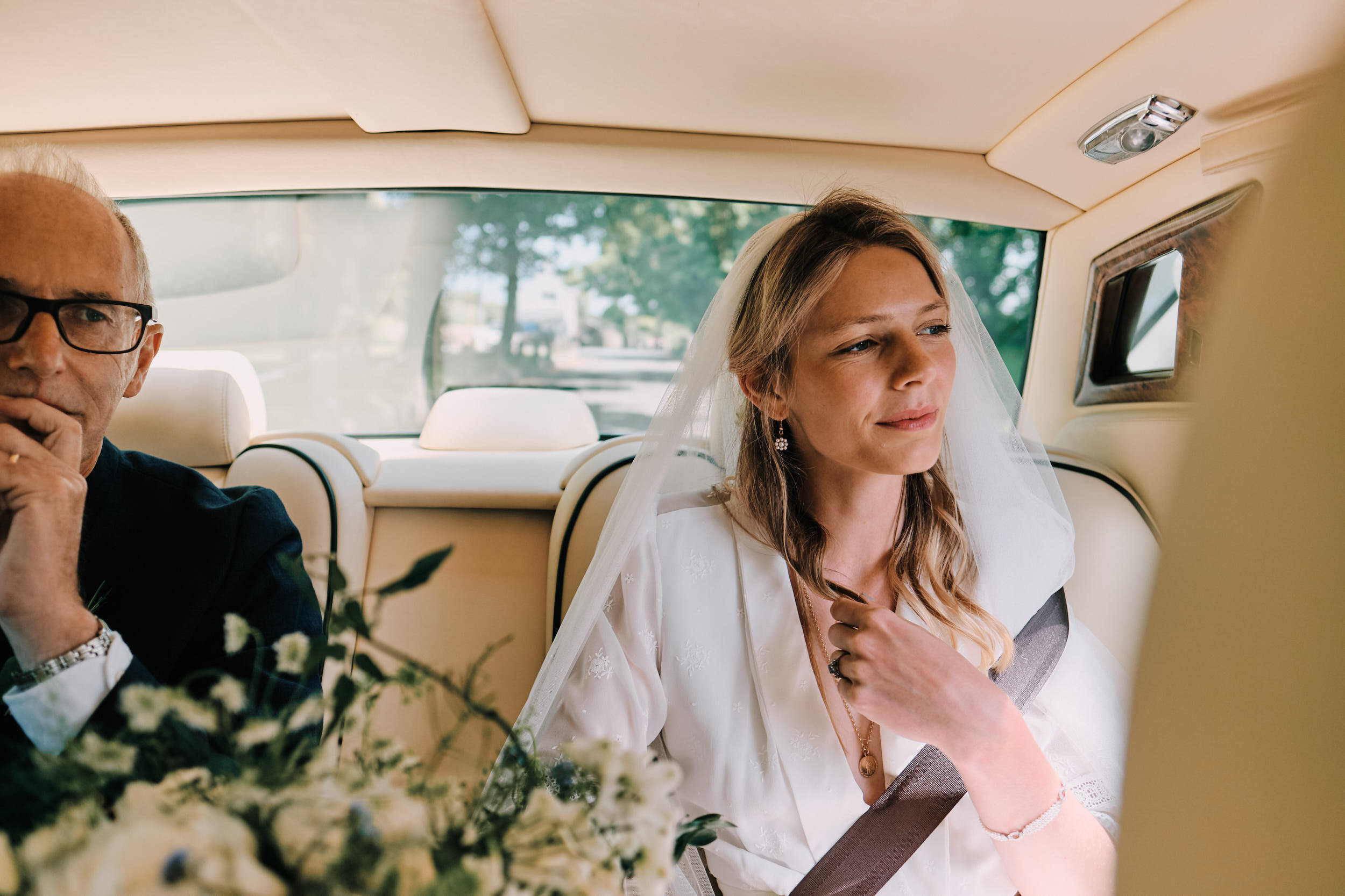 Award Winning Documentary Wedding Photo of a bride arriving at the ceremony in the UK