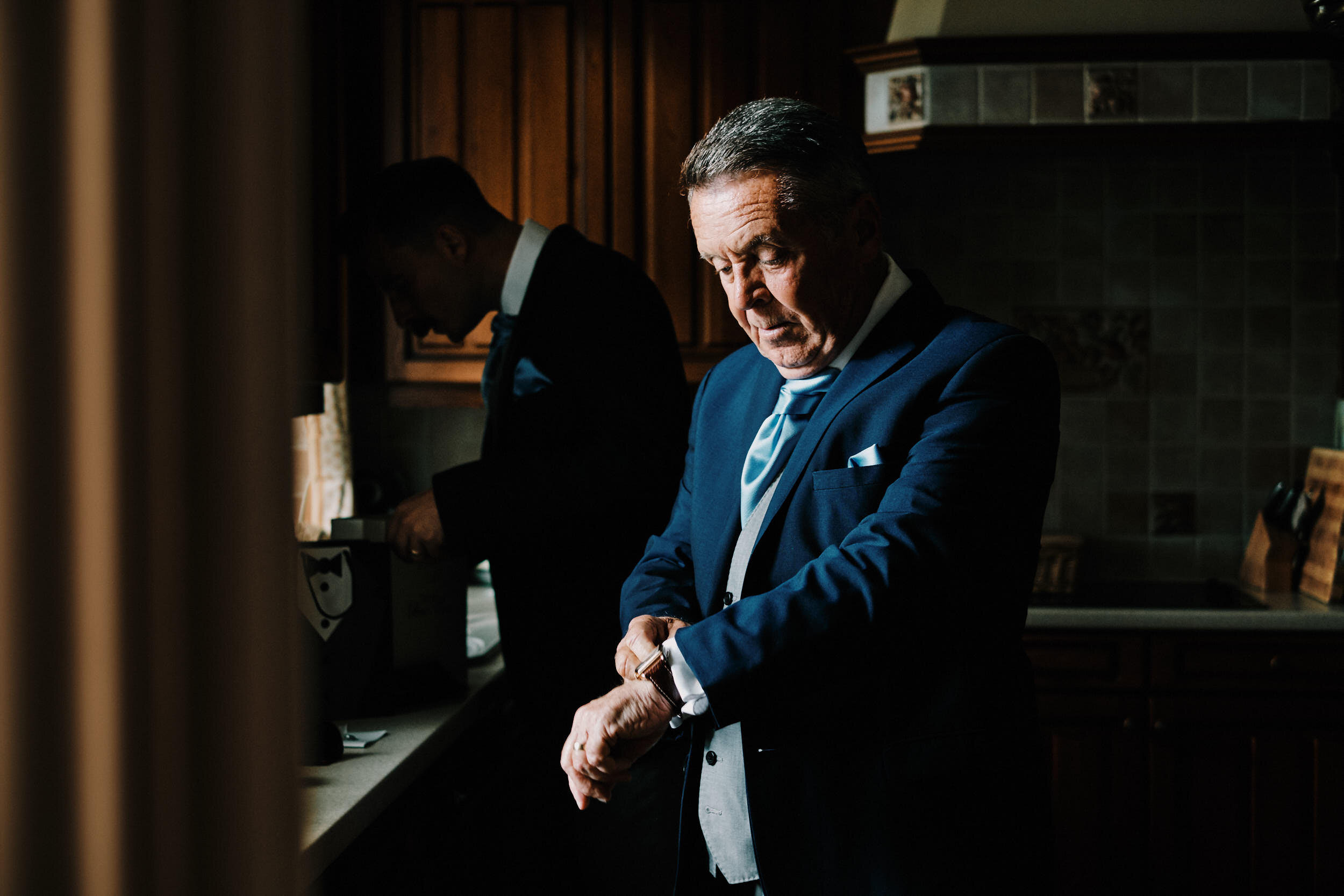Father of the Groom getting ready documentary wedding photographer
