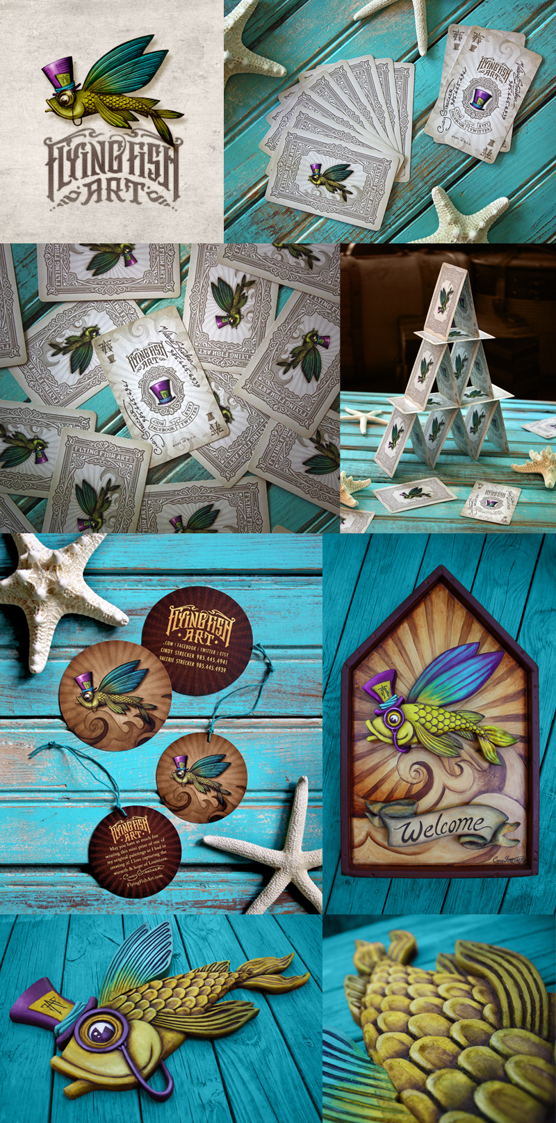 Flying Fish Art, LLC   Logo•Bizcard•Hand-Carved & Painted Sign