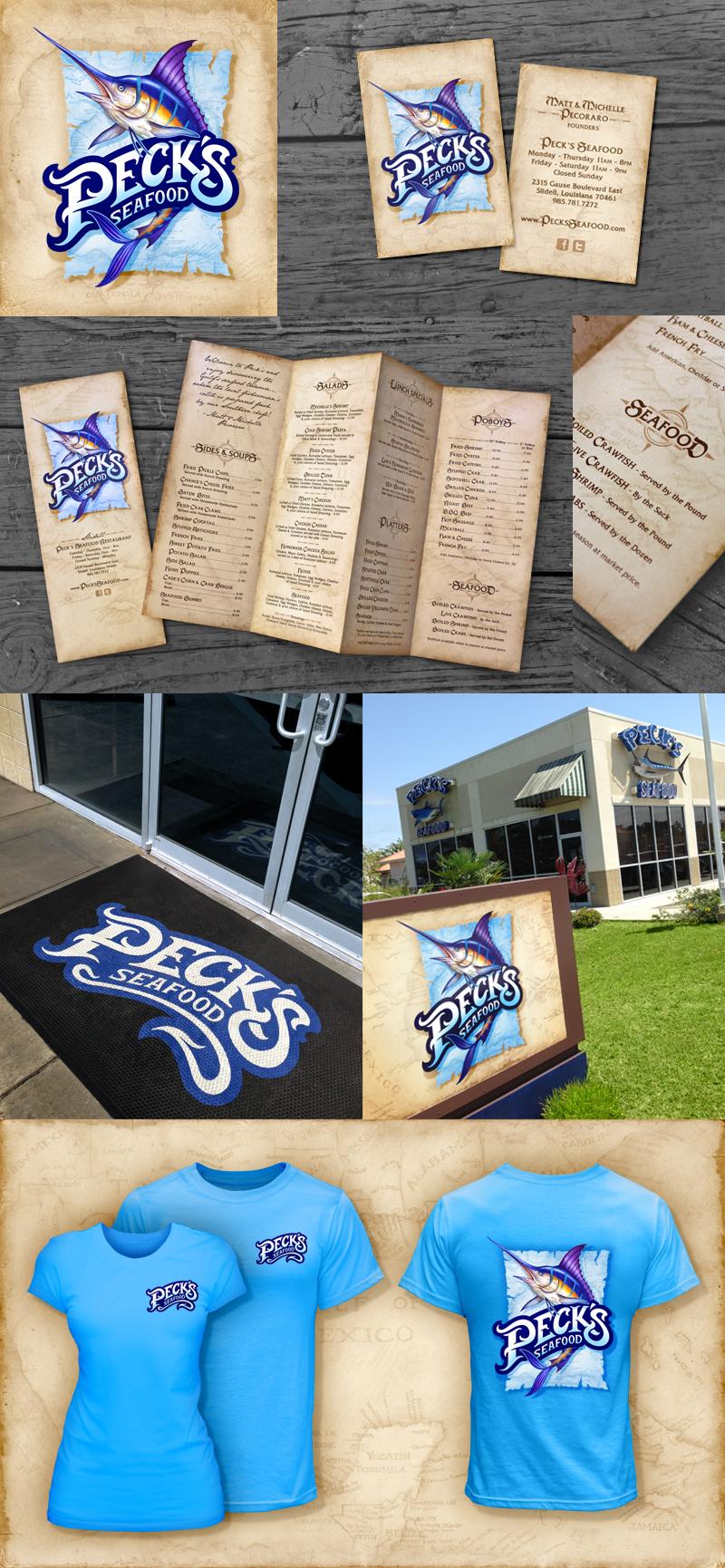 Peck's Seafood     Logo•Bizcard•Menu •Sign •T-shirt•Website