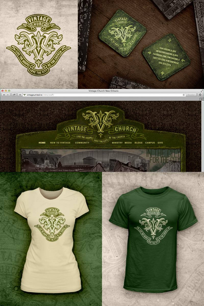 Vintage Church   Logo•Bizcard •T-shirt•Website Graphics