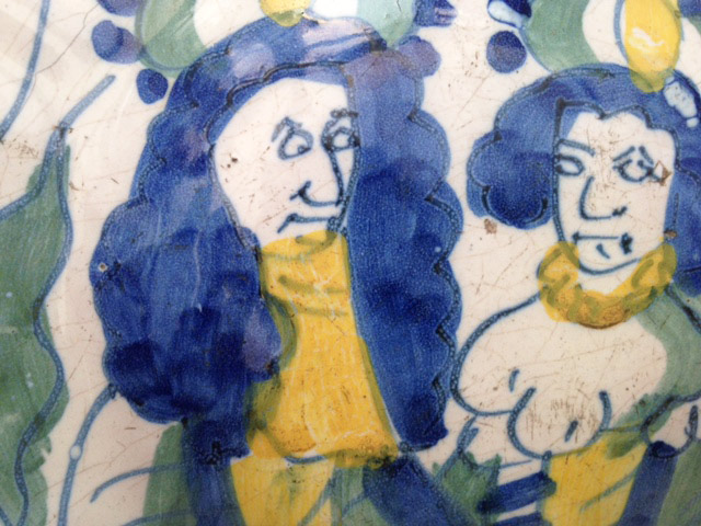Detail of a Dutch Delft charger of William and Mary circa 1690. Naughty William!