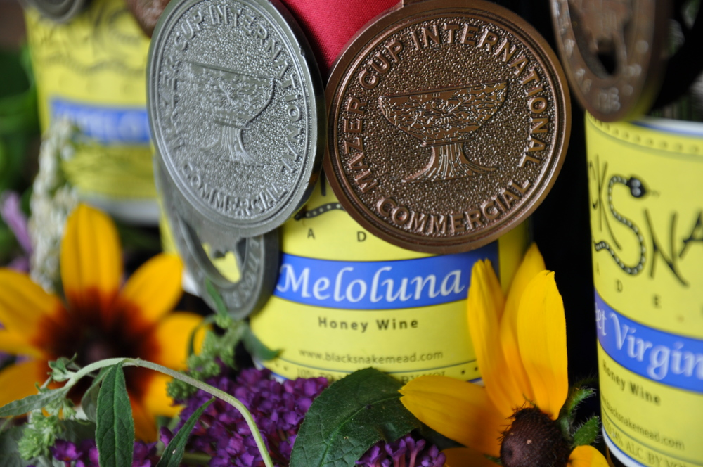 Meloluna (2019 Governor's Cup Silver; 2016 Best Mead, State Fair of Virginia; 2016 Gold Medal, State Fair of Virginia; 2016 Bronze Medal,Traditional Mead, Drink Outside the Grape; 2015 Bronze Medal, Sweet Traditional, The Mazer Cup International Mead Competition; 2012 Silver Medal, Sweet Traditional, The Mazer Cup International Mead Competition; 2011 Silver Medal, San Francisco Chronicle Wine Competition; 2010 Bronze Medal, Sweet Traditional, The Mazer Cup International Mead Competition): - A sweet mead with honey aromas and flavors accented with caramel. A great after dinner drink or as a complement to tropical fruits. Gluten-free. $14/375 mL.Click to order on VinoShipper.