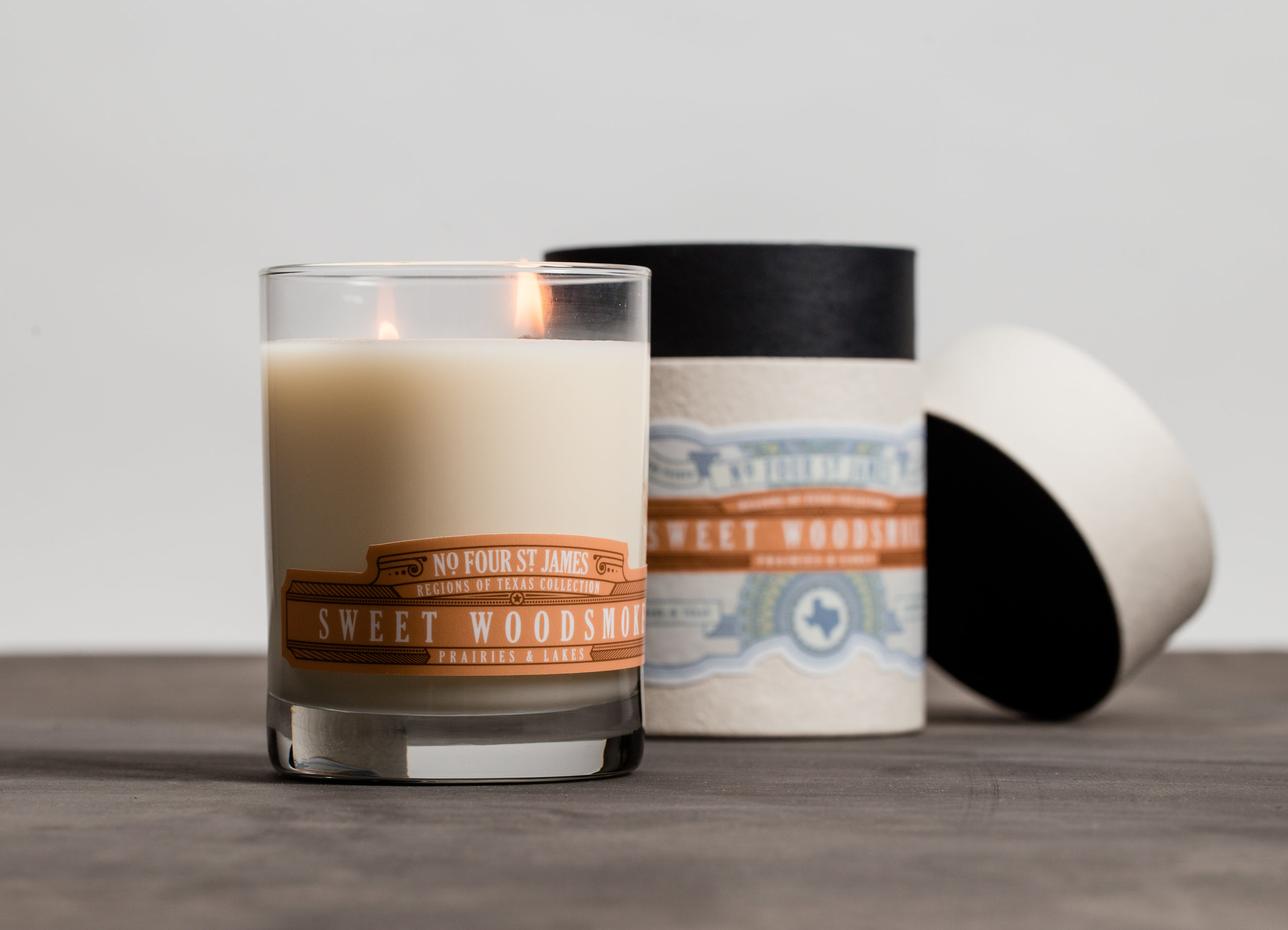 Regions of Texas Candle Collection for No. 4 St. James. Label by Jackson Robinson; candle formulations in collaboration with Carrie Crumbley.
