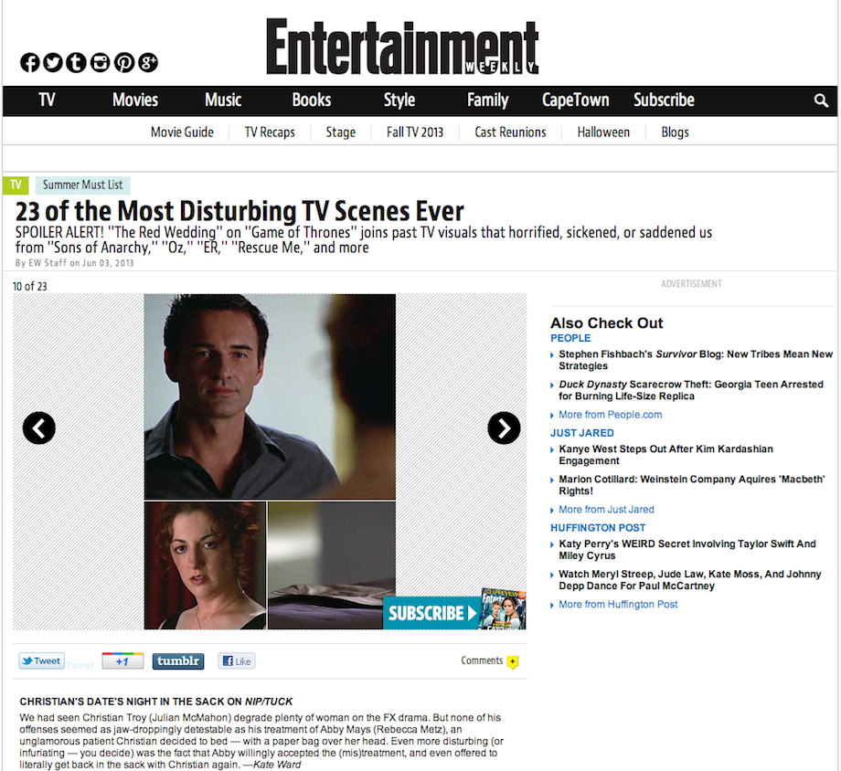 23 of the Most Disturbing TV Scenes Ever — Entertainment Weekly, June 2013