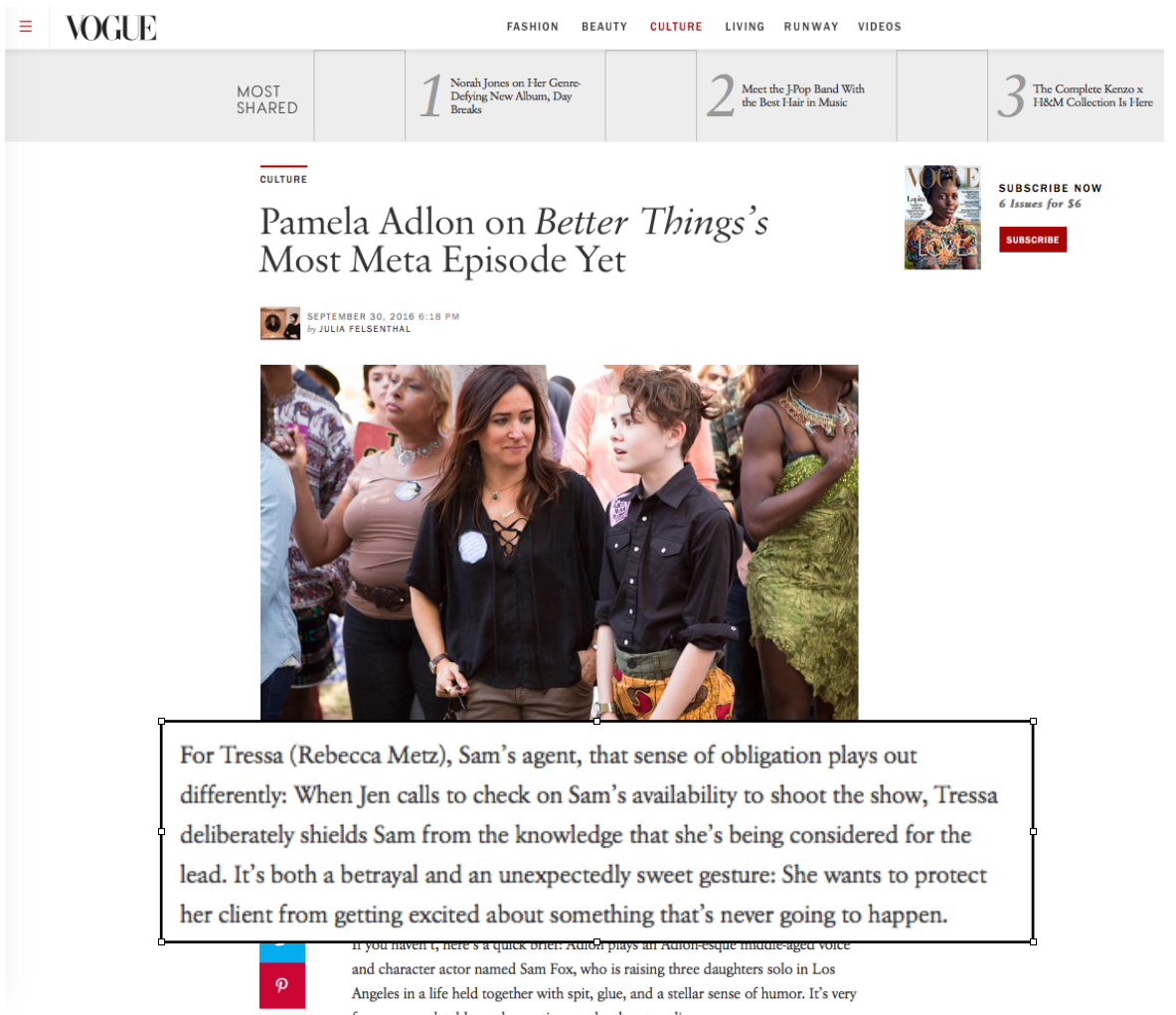 Vogue Pamela Adlon Interview