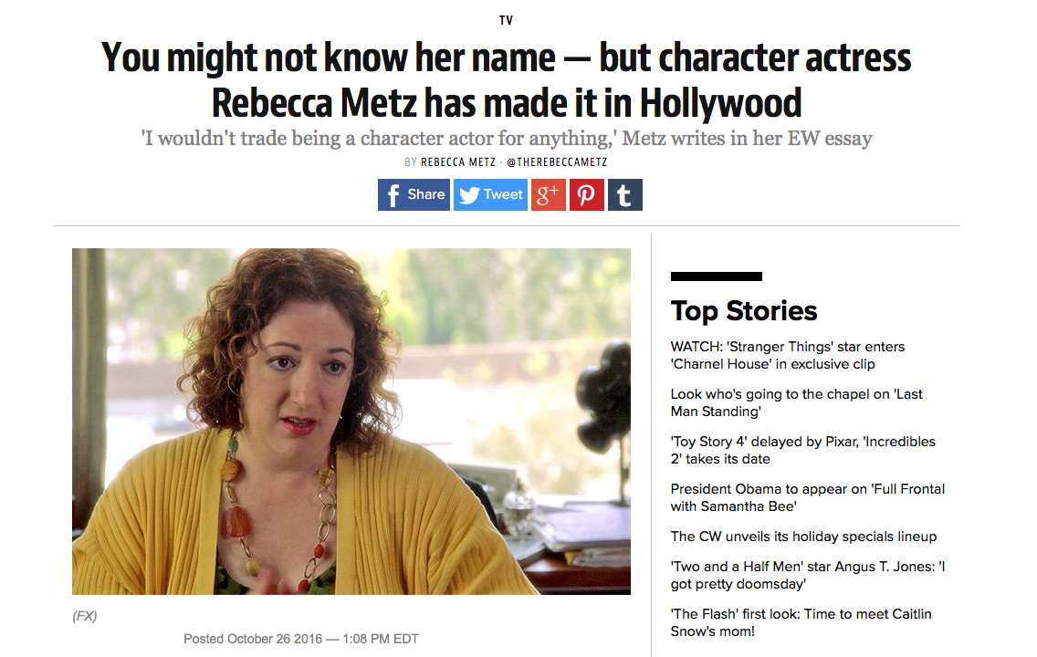 You might not know her name — but character actress Rebecca Metz has made it in Hollywood