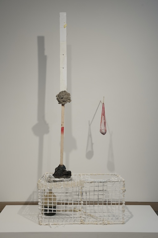 Lexington Risk and Reward , 2013, steel, cotton, plaster, terracotta, tar, acrylic paint, wood, concrete, linoleum, 46 x 38 x 6 in.