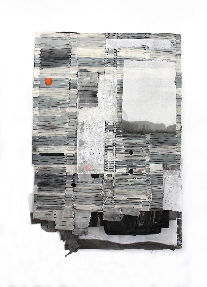 Second Row Left, Second In, 2014, paper collage, 58 x 42 x 4 in.